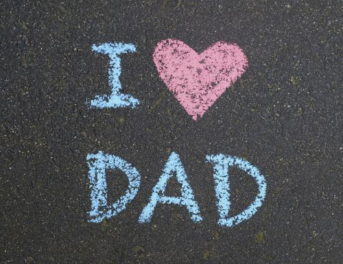 I love Dad written out in sidewalk chalk on pavement.  See also