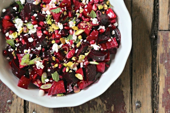 Beet and pomegranate salad