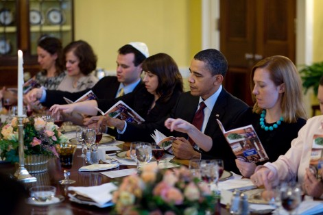 President Barack Obama and the First Family mark the beginning of Passover with a seder with friends and staff in the Old Family Dining Room of the White House (Photo: Pete Souza/White House)