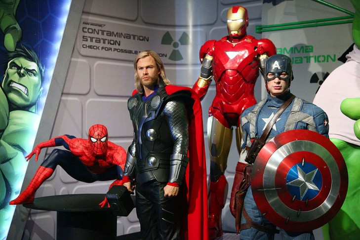 Wax figures of superheroes  Spider-Man, Thor, Iron Man, Captain America, and The Hulk appear at Madame Tussauds in New York City.  (Photo by Astrid Stawiarz/Getty Images)