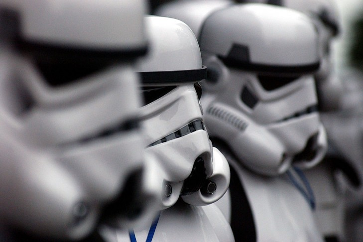 """Storm Troopers arrive for the screening of """"Star Wars Episode II: Attack of the Clones"""" May 12, 2002 in New York City (Photo by Mark Mainz/Getty Images)"""