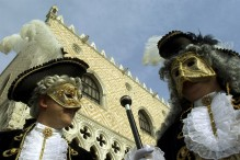 Masked revellers in Venice, Italy (Photo by Giuseppe Cacace/Getty Images)