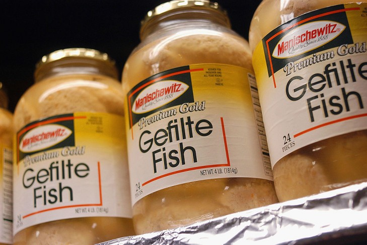 Jars of Gefilte Fish sit on the shelves awaiting purchase from consumers at McCaffrey's Passover Store in Yardley, Pennsylvania. (Photo by William Thomas Cain/Getty Images)