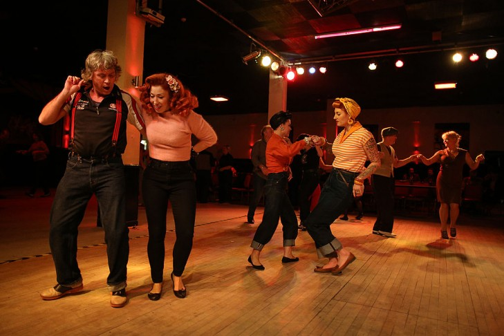 Ethusiasts dance at during the Rythmn Riot event in Camber, East Sussex.  (Photo by Peter Macdiarmid/Getty Images)