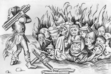 Circa 1493, Jews from Cologne being burnt alive. Original Publication: From Liber Chronicarum Mundi (Nuremberg, 1493). (Photo by Hulton Archive/Getty Images)