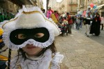 Girl dressed as a princess from Venice for Purim.  (Photo by Paula Bronstein/Getty Images)