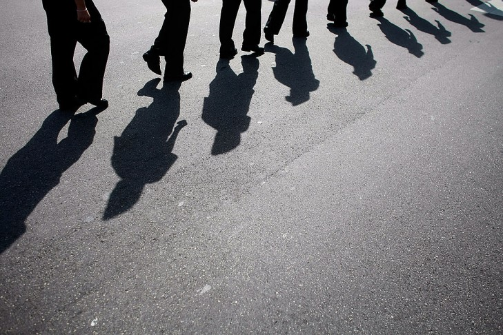 Shadow cast by marchers (Photo by Joe Raedle/Getty Images)