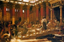 """""""The Visit of the Queen of Sheba to King Solomon,"""" oil on canvas painting by Edward Poynter, 1890"""
