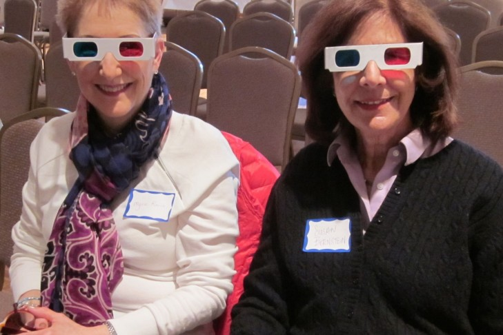 Two fun-loving participants at the recent JGSGB program Historic 3-D Photographs of Jewish Communities in Europe and the Ottoman Empire Before WWI