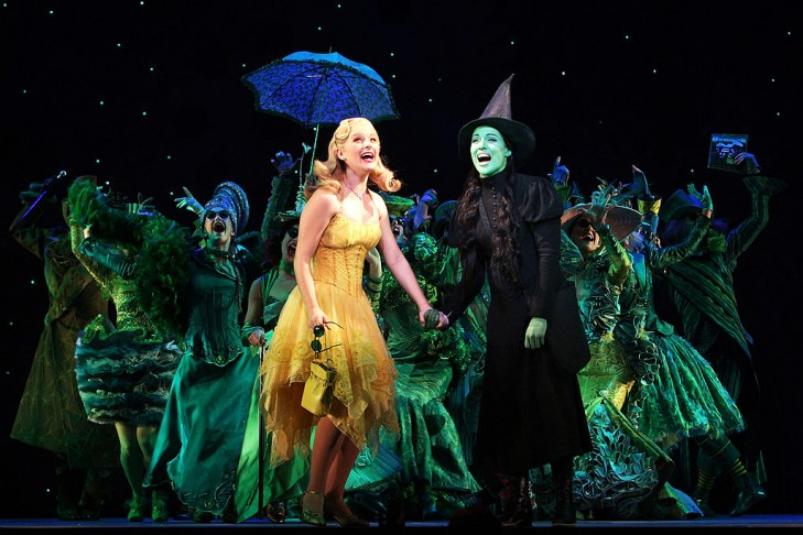 "MELBOURNE, AUSTRALIA - JULY 11:  Lucy Durack performs as Glinda, the Good Witch and Amanda Harrison performs as Elphaba, the Wicked Witch during a photo call for ""Wicked"" at the Regent on July 11, 2008 in Melbourne, Australia. (Photo by Kristian Dowling/Getty Images)"