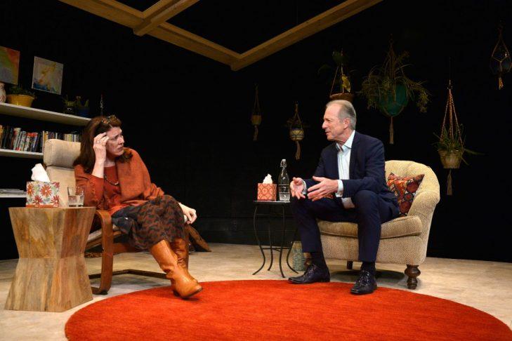 "Maureen Keiller as Ella and Will Lyman as God in ""Oh God"" (Photo credit: Paul Marotta)"