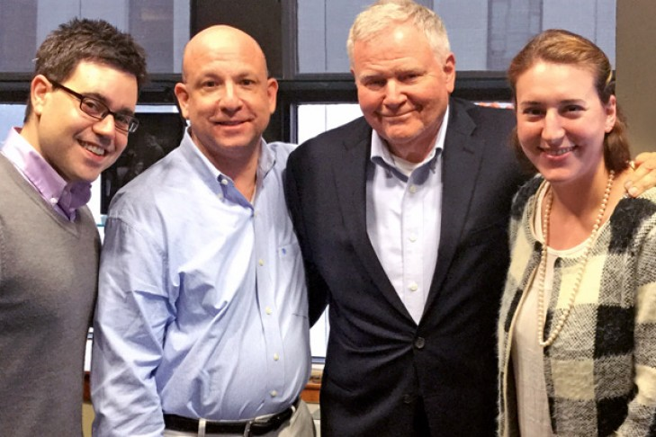 CJP President Barry Shrage with JewishBoston staff Jesse Ulrich, Jeff Levy and Kali Foxman, from left