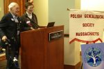 Julius and Fay Busbang were the speakers at the first joint meeting of the Jewish Genealogical Society of Greater Boston and the Polish Genealogical Society of Massachusetts, May 1 2016.