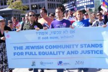Jewish activists attending the National Equality March in Washington, D.C., Oct. 11, 2009. (Courtesy of Keshet)