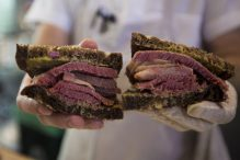 "A close up of the ""No. 2"" at Mamaleh's Delicatessen—hot corned beef on rye with mustard. (Jesse Costa/WBUR)"