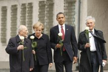 President Obama toured the Buchenwald concentration camp in 2009 with Elie Wiesel (right). (GERALD HERBERT/ASSOCIATED PRESS/FILE 2009)