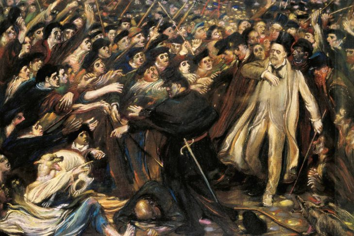 Zola faces the mob, oil on canvas by Henry de Groux, 1898