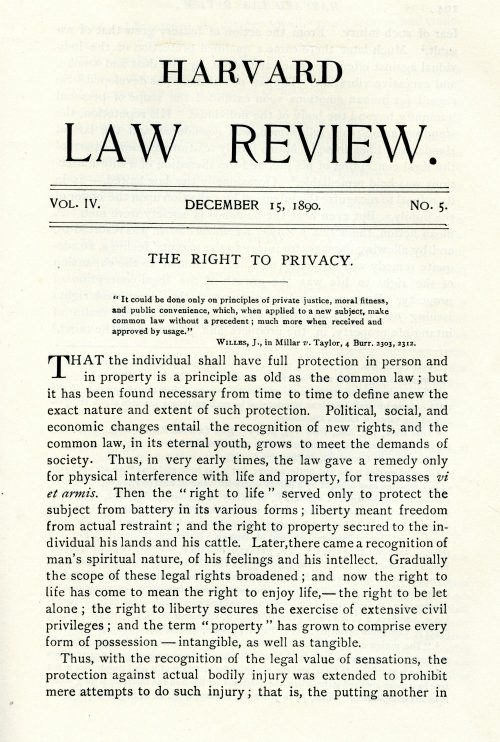"""The Right to Privacy"" by Louis D. Brandeis and Samuel D. Warren Jr., published in the Dec. 15, 1890, issue of the Harvard Law Review, which Brandeis helped found. ""It's one of the most famous law review articles in American legal history,"" writes Jeffrey Rosen in his new book, ""Louis D. Brandeis: American Prophet."" (Courtesy Robert D. Farber University Archives & Special Collections Department, Brandeis University)"