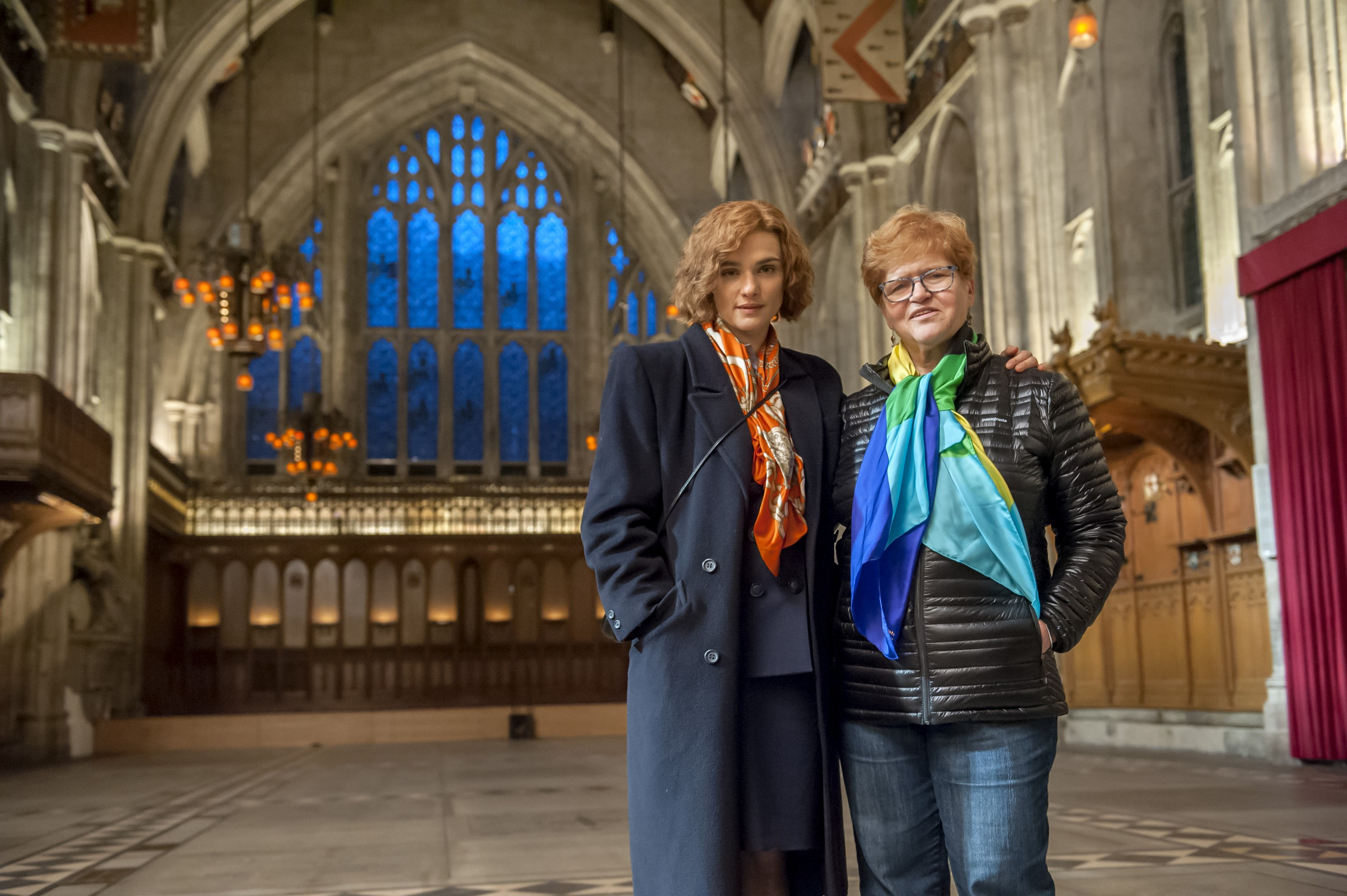 "Actor Rachel Weisz and author Deborah Lipstadt on the set of their film ""Denial,"" a Bleecker Street release. (Photo credit: Liam Daniel/Bleecker Street)"