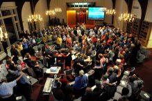 A recent Shabbat Rinah service at Congregation Beth El of Sudbury. courtesy photo