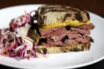 Pastrami sandwich, coming soon to Our Fathers deli in Allston. (JONATHAN WIGGS/GLOBE STAFF)