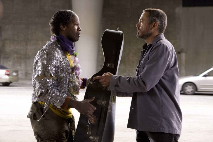Jamie Foxx and Robert Downey Jr in The Soloist