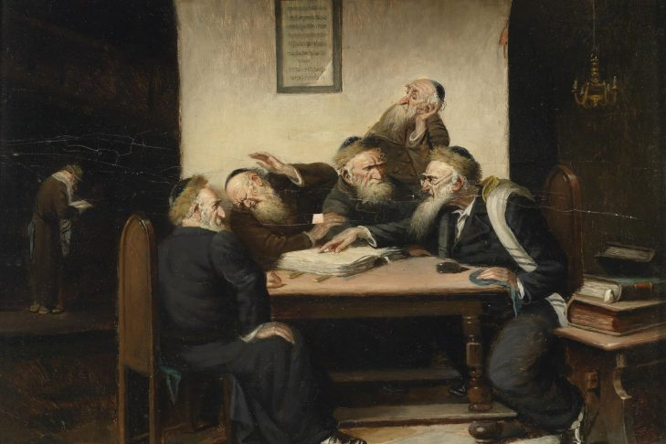 """A Controversy Whatsoever on Talmud"" by  Carl Schleicher (1825-1903)"