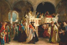 The Feast of the Rejoicing of the Law at the Synagogue in Livorno, Italy by Solomon Hart, 1850