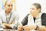 Bassam Aramin, left, a Palestinian, and Robi Damelin, an Israeli, talk about The Parents Circle Families Forum. (Photo: CJP)