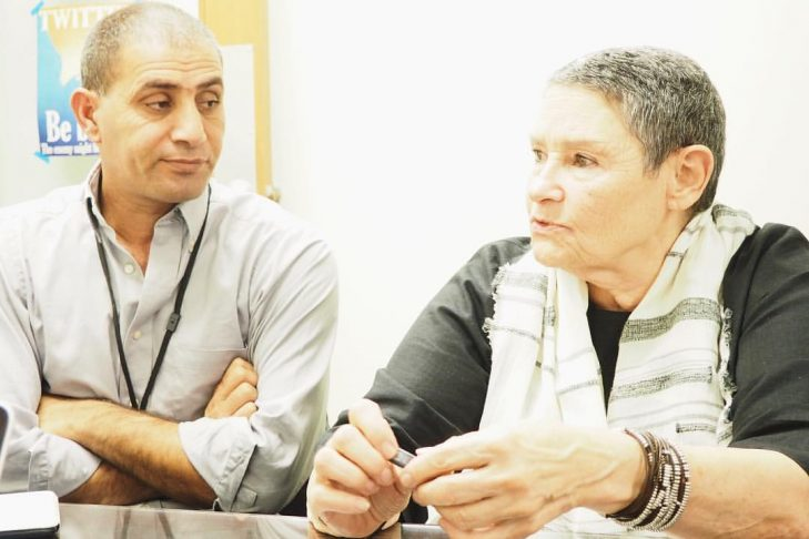 Bassam Aramin, left, a Palestinian, and Robi Damelin, an Israeli, talked about The Parents Circle Families Forum in a recent JewishBoston.com podcast.