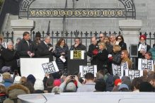Robert O. Trestan, regional director of the Anti-Defamation League, addressed the crowd at the State House. (PAT GREENHOUSE/GLOBE STAFF)