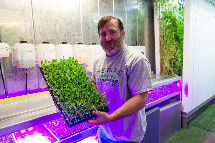 Bobby Zuker of Green Line Growers, a hydroponic farm in Brookline. (Photo: Jordyn Rozensky)