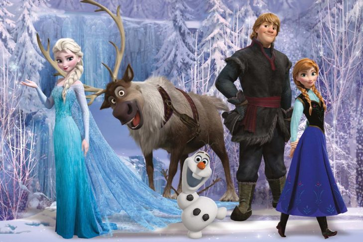 Elsa, Sven, Olaf, Kristoff, and Anna from Frozen