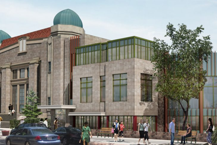 A rendering of Congregation Kehillath Israel's future renovated property (Credit: Handlin, Garrahan and Associates)