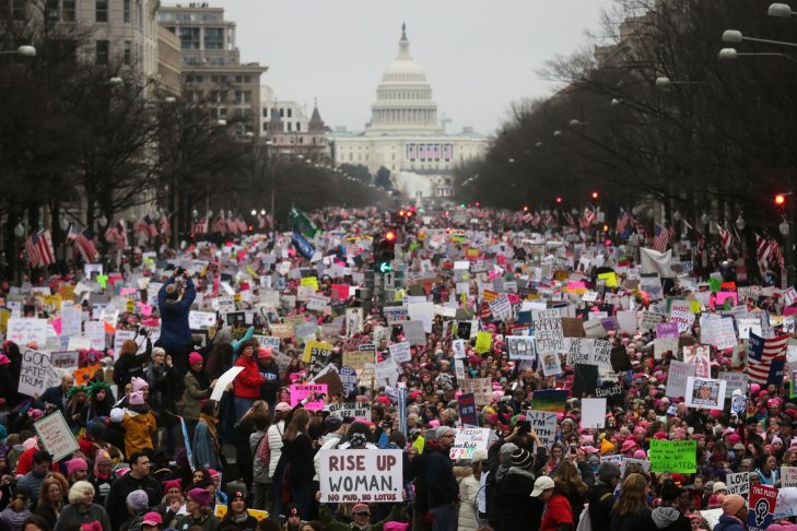 Protesters walk during the Women's March on Washington, D.C., on Jan. 21, 2017. (Photo by Mario Tama/Getty Images)
