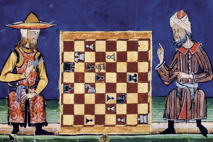 A Jew and a Muslim playing chess in 13th century al-Andalus. El Libro de los Juegos, commissioned by Alphonse X of Castile, 13th century