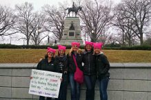 Leah Sugarman, second from left, with friends on the way to the Women's March on Washington wearing pink hats her brother knit. (Courtesy Leah Sugarman)