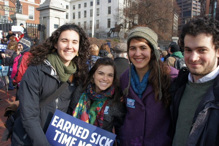 Jewish Organizing Fellows (class of 2013-14)at a rally promoting Earned Sick Time in Massachusetts