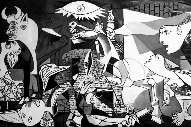 Guernica(1937) by Pablo Picasso was painted in response to the bombing of Guernica in Northern Spain by the German and Italian air forces allied with the General Franco and the Spanish Nationalists, during the Spanish Civil War