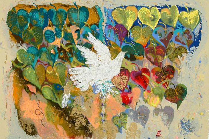 """(""""Phoenix Bird II"""" by Shraga Weil, Safrai Fine Art Gallery)"""