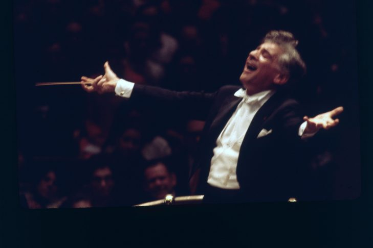 American composer Leonard Bernstein (1918 - 1990), writer of symphonic music as well as Broadway shows.   (Photo by Erich Auerbach/Getty Images)