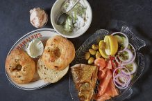 SMOKED WHITEFISH AND LOX WITH HOUSE-BAKED BIALYS. / PHOTOGRAPH BY NINA GALLANT
