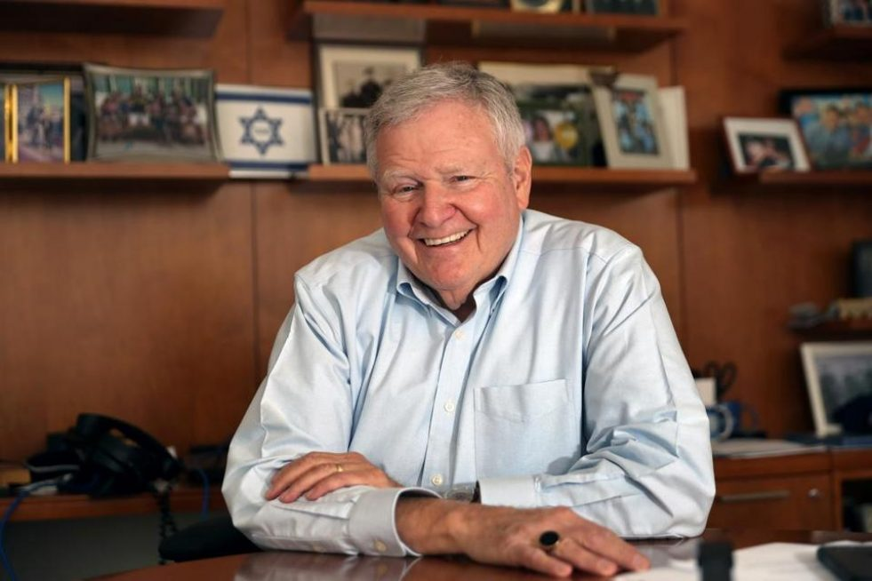 In his office, Barry Shrage, the longtime leader of Combined Jewish Philanthropies. (DAVID L. RYAN/GLOBE STAFF)
