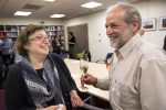 Larry Klein, 59, from Newton, Mass., celebrates his German citizenship with his wife, Amy Gilman, 56. (Robin Lubbock/WBUR)