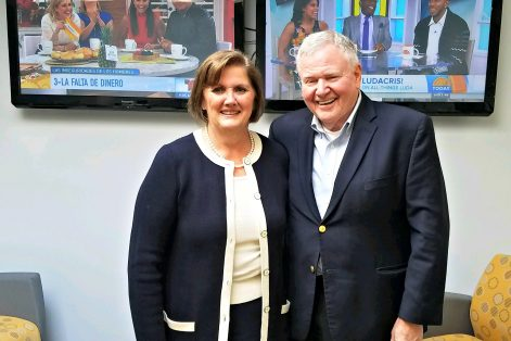 Catholic Charities President Deborah Kincade Rambo and CJP President Barry Shrage at a joint NECN appearance.