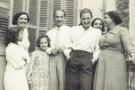Egypt, 1956: Luna (back left), Joe (center) and Rachel (center right).