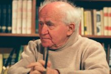 "Israeli Prime Minister David Ben-Gurion on the set of the 1968 interview from Yariv Mozer's ""Ben-Gurion: Epilogue."" (Photo by David Marks)"