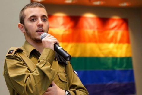 Lt. Shachar Erez, the first openly transgender officer in the Israel Defense Forces, speaking at a Los Angeles synagogue in June 2016. (Courtesy Israel Ministry of Foreign Affairs)