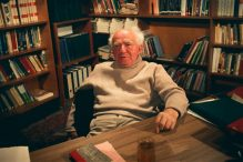 "David Ben-Gurion on the set of the 1968 interview that led to ""Ben-Gurion, Epilogue."" (DAVID MARKS/GO2FILMS)"