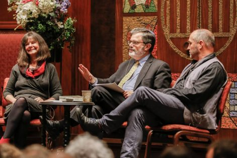 "Geraldine Brooks, Rabbi Eric Gurvis and Colum McCann, from left, discuss the book ""Kingdom of Olives and Ash: Writers Confront the Occupation"" (Courtesy New Israel Fund)"